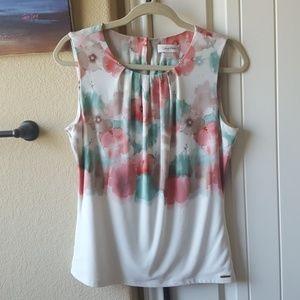 CK watercolor floral blouse